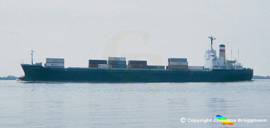 """Hapag-Lloyd Containerschiff """"FULDA EXPRESS"""" 1984. 1979 als FRANKENFELS der DDG-Hansa zum Containerschiff umgebaut"""
