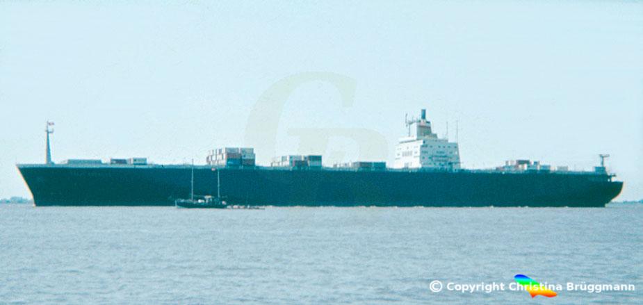 Hapag-Lloyd Containerschiff der 3. Generation TOKIO EXPRESS auf der Elbe 1983