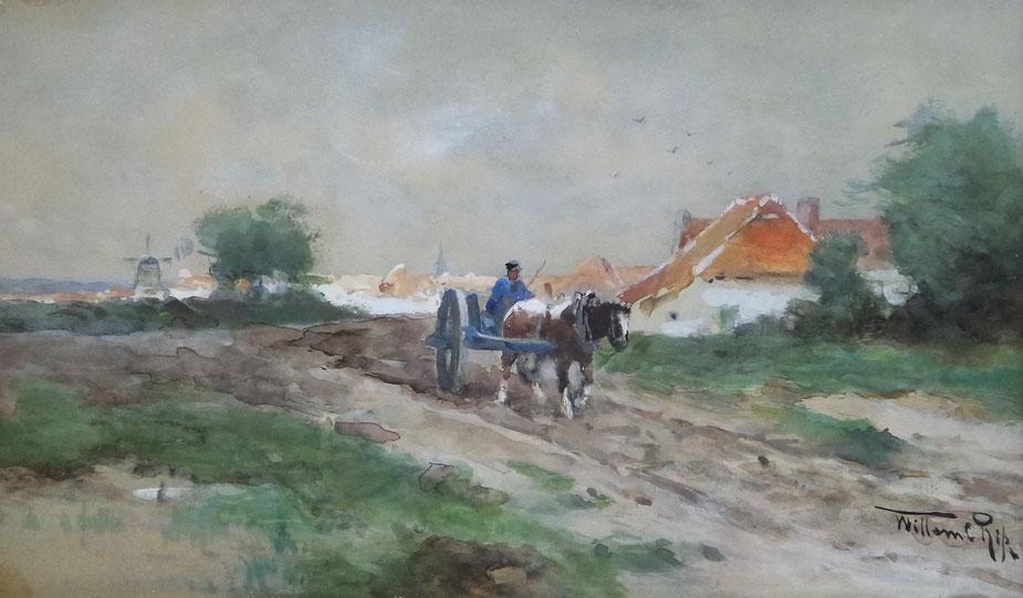 te_koop_aangeboden_een_aquarel_van_nederlandse_kunstschilder_Willem_Cornelis_Rip_1856-1922_haagse_school