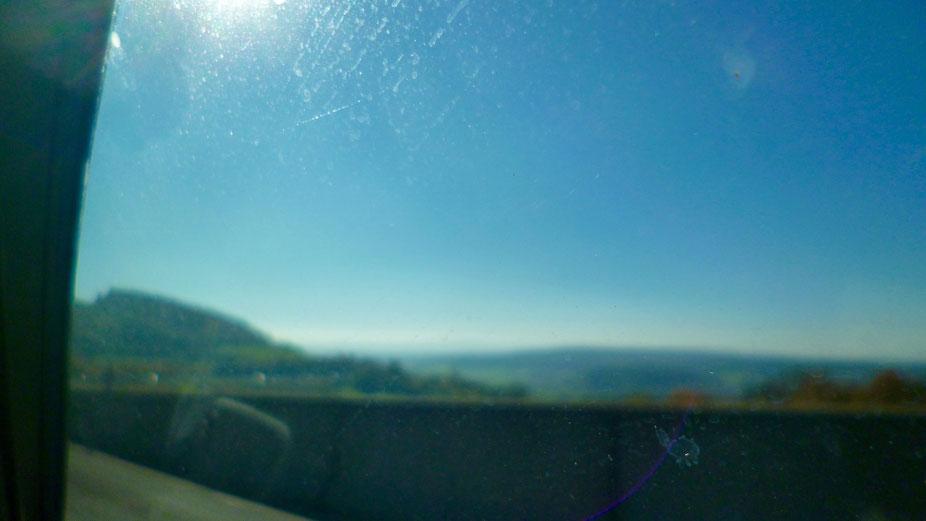 Blick vom Bindlacher Berg auf Bayreuth - aus dem Auto
