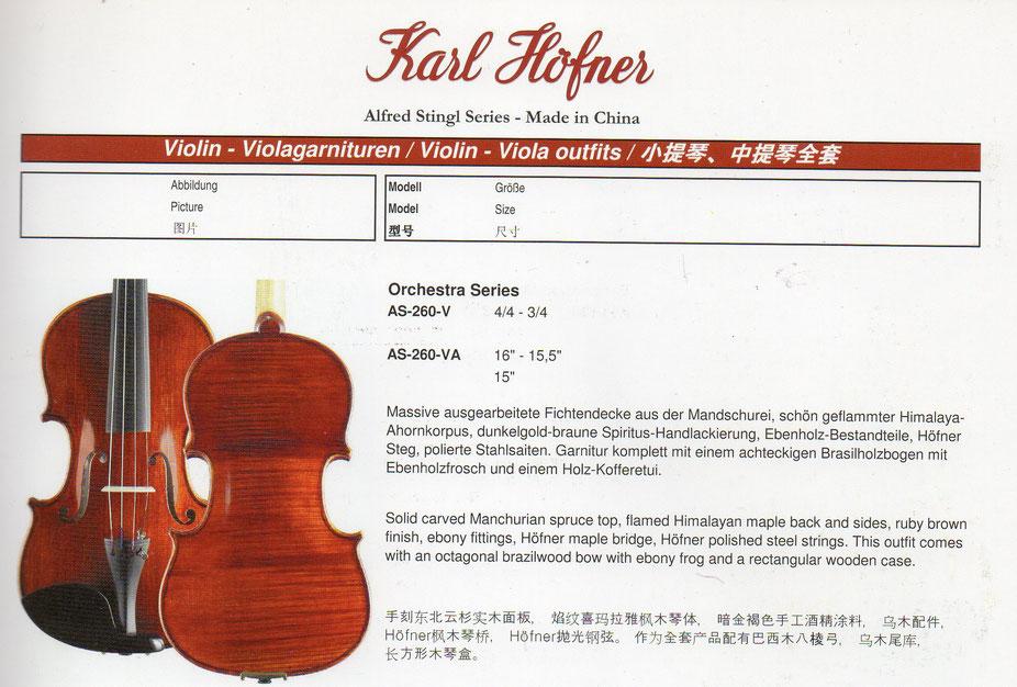 Описание из каталога Hofner Хофнер Alfred Stringl- Альфред Стрингл скрипка, альт, виолончель, контрабас для официальной продажи.