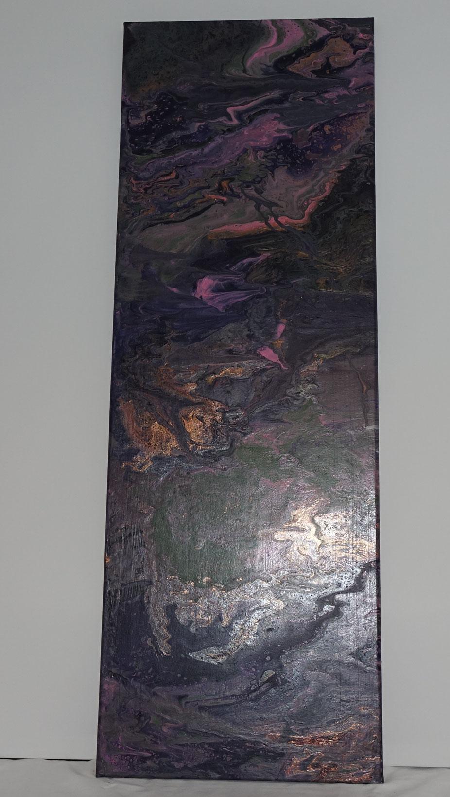 Acryl pouring, abstact schilderij,   lang schilderij