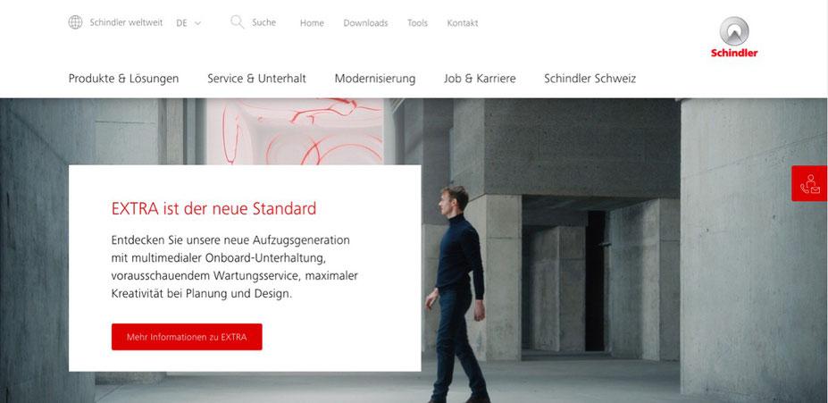 Startseite des neuen Webauftritts von Schindler Aufzüge AG