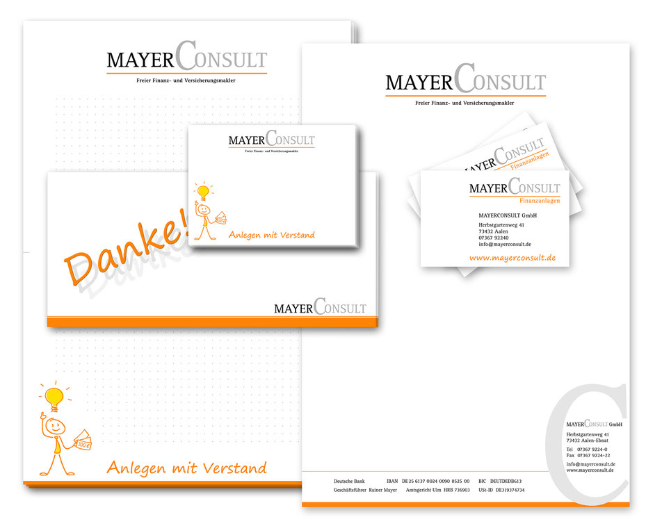 Gestaltung von Printprodukten für Mayer-Consult: Artwork3, Heidemarie Franz