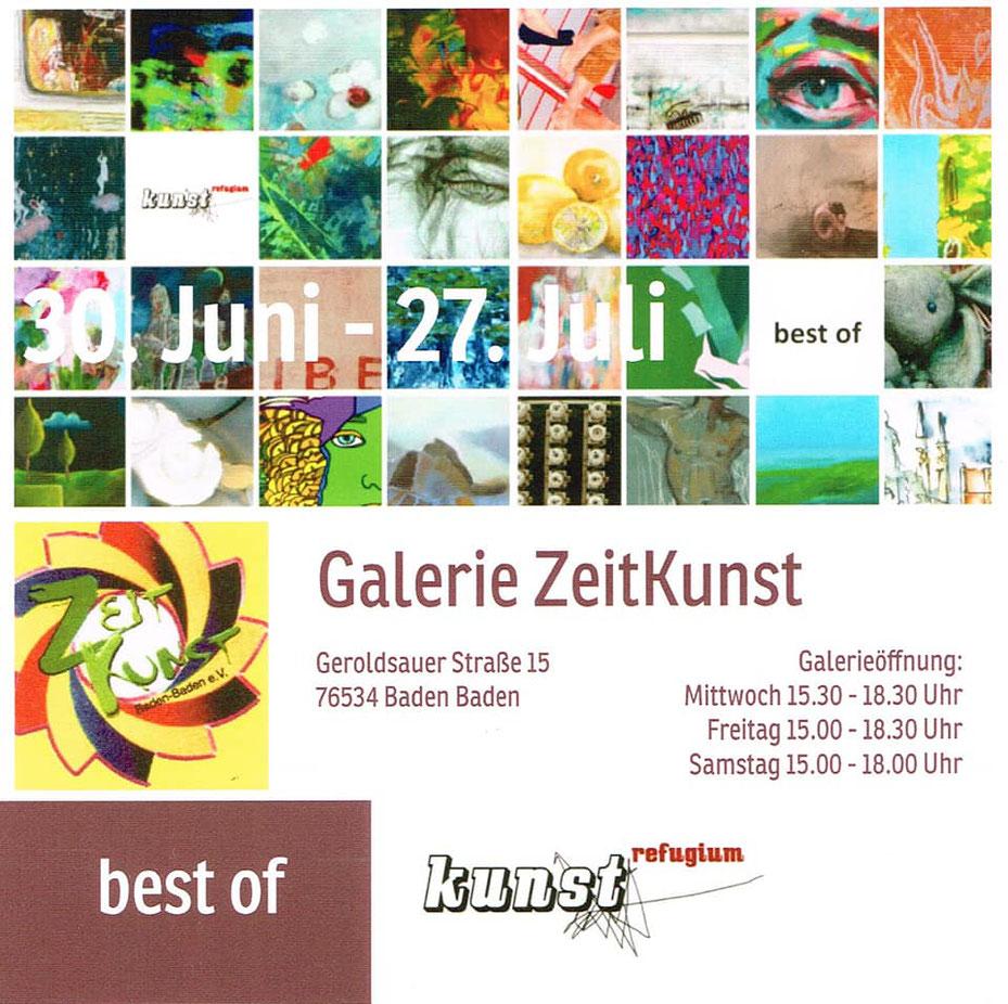"""Ausstellung """"Best of"""" in Baden Baden zusammen mit dem Kunstverein Kunstrefugium, 30.06. - 27.07.2018"""