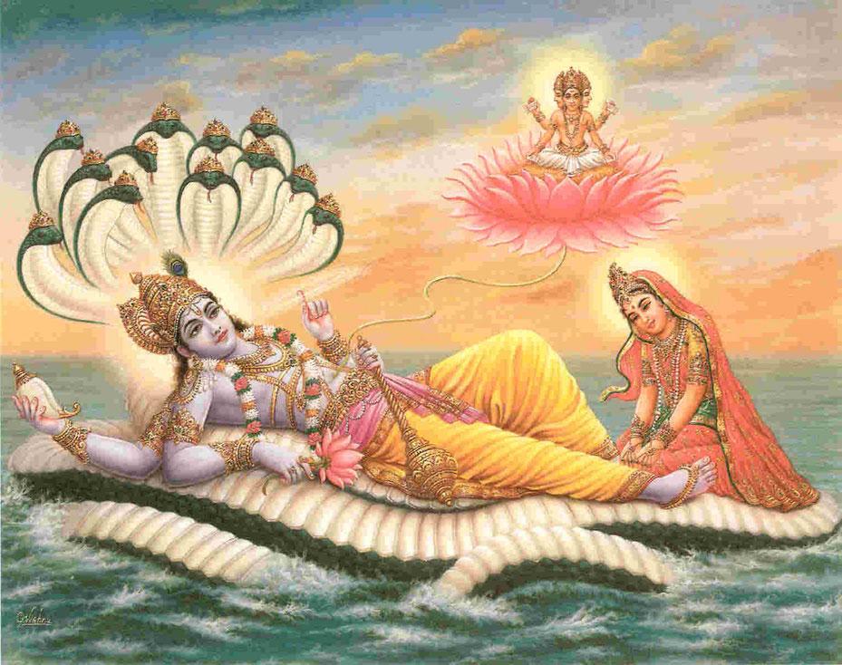 Lord Vishnu in Yoga Nidra auf dem Ozean des puren Bewusstseins