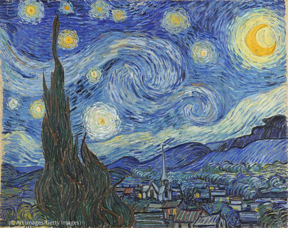 لوحة فنسنت فان غوغ 'ليلة سماؤها مرصعة بالنجوم' تُعد أحد الأعمال الفنية التي يمكن للزوار الافتراضيين عبر الإنترنت استكشافها. (© Art Images/Getty Images)