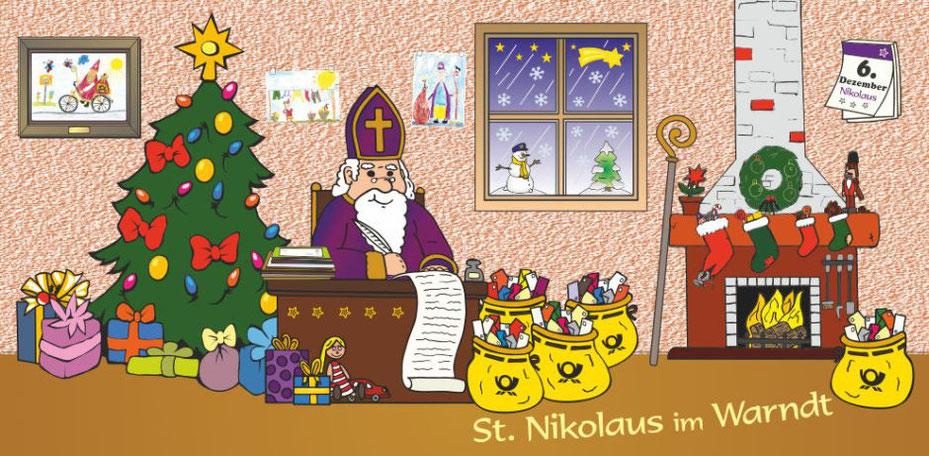Eine bunte Zeichnung: Der Nikolaus im lila Bischofsgewand sitzt hinter einem Schreibtisch und notiert die ganzen Briefe, die ihn erreicht haben