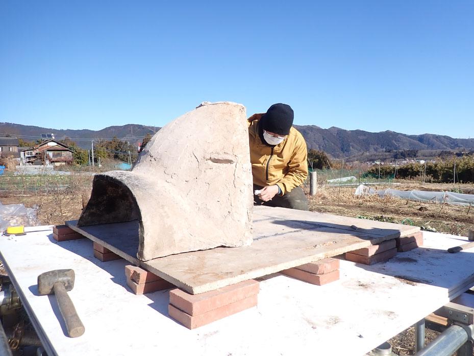 石窯の分解移築@講座・火と暮らす