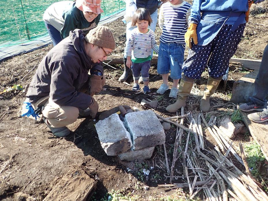 農業体験。石窯づくり