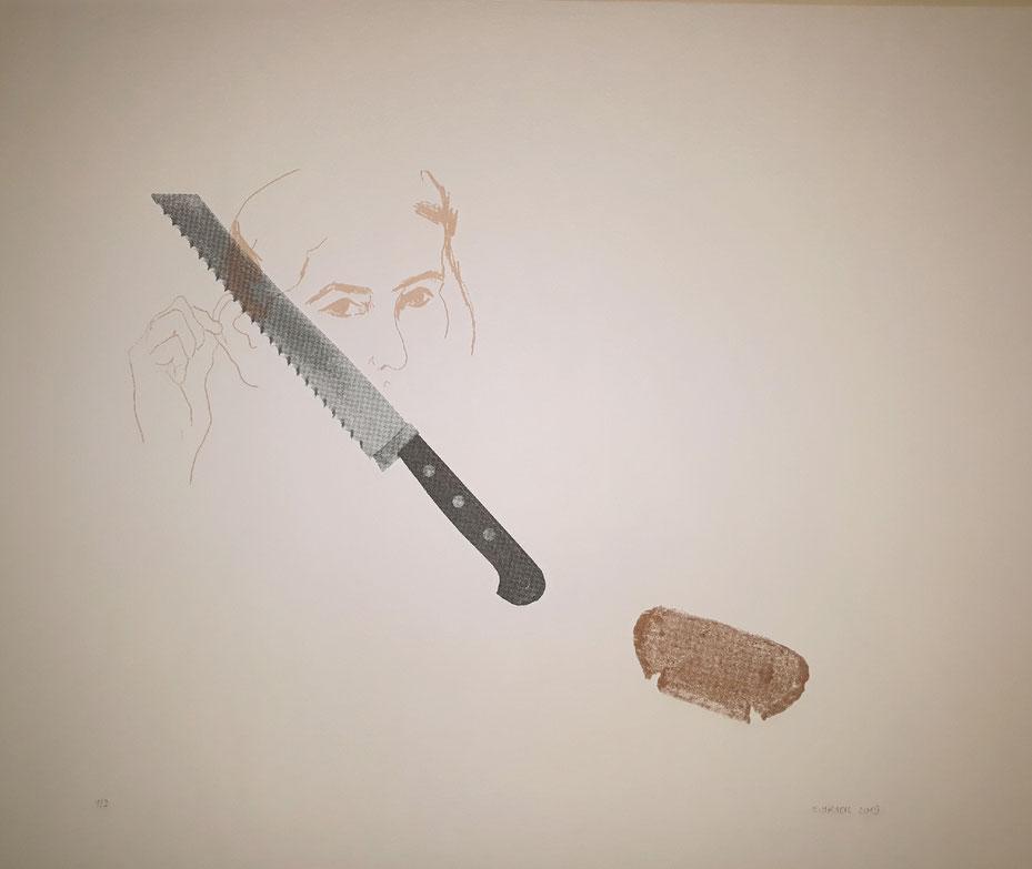 "Eva Hradil ""Vincent van Brotberuf Malerei"", 2019, Serigrafie, 3fbg. , Auflage: 3, Blattgröße 50 x 60 cm, canson 300g/m2"