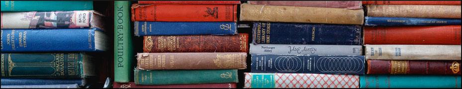 Bücherrücken antiquarischer Bücher