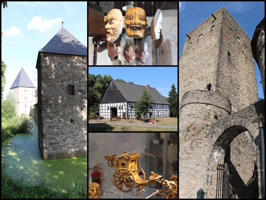 Fotocollage mit CANON EOS 77d mit Burg Kemnade, Burg Blankenstein und Museumsimpressionen