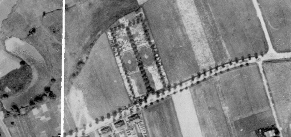 Luftbild des Rünther Friedhofs aus dem Jahre 1926: Protestanten und Katholiken waren strikt getrennt. (Bildnachweis: RVR, dl-de/by-2-0)