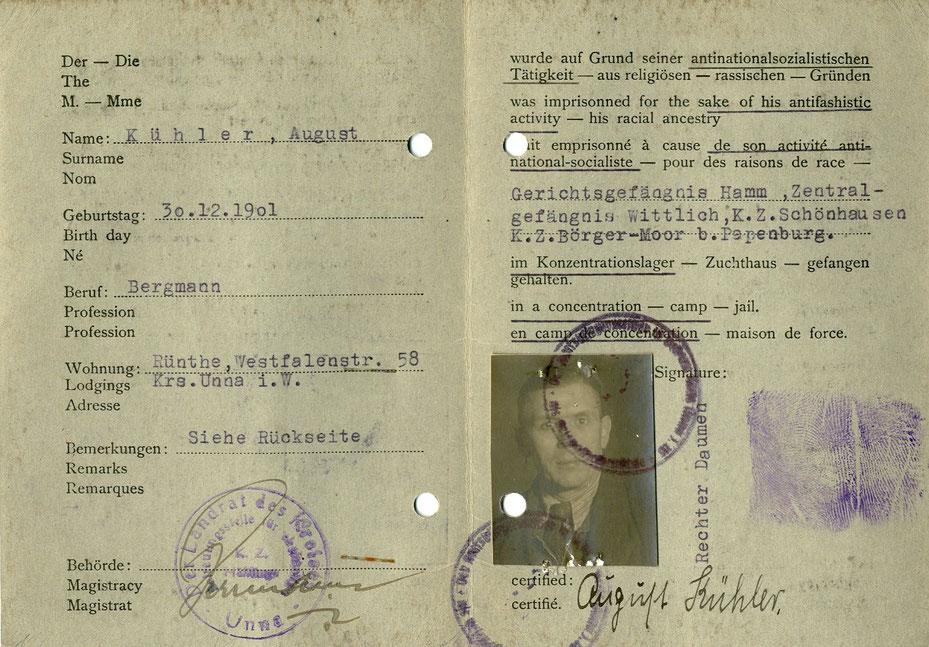 August Kühler, letzer Bürgermeister der Gemeinde Rünthe, war ein Opfer der Verfolgung im Nationalsozialismus. (Quelle: Kreisarchiv Unna)