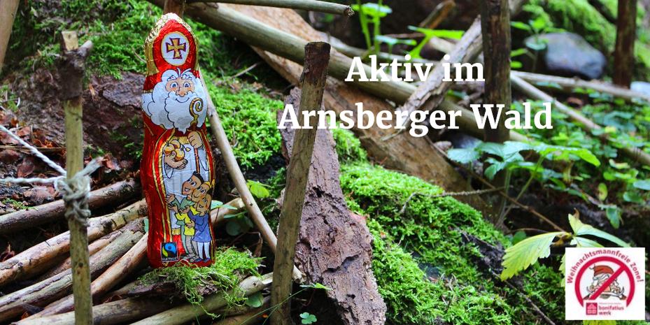 Der Schoko-Nikolaus steht auf einer Brücke aus kleinen Ästen im Wald. Im Hintergrund sind grüne Pflanzen, Moos, Baumrinde und weitere Äste zu sehen.