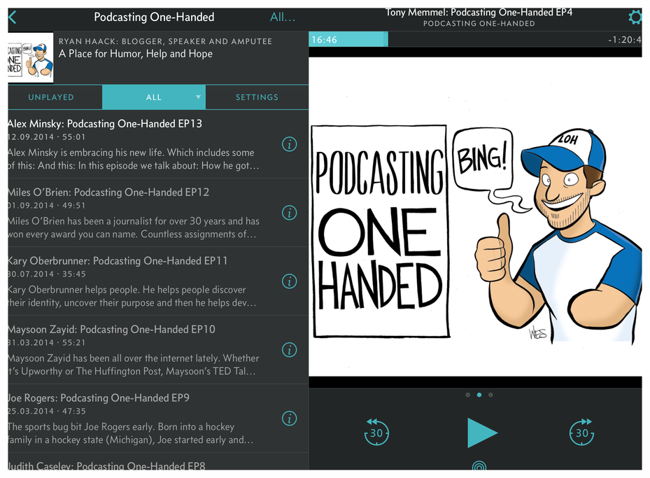 Ryan Haack's 'Podcasting One-Handed' is only one of a number of great shows for amputees.