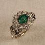 Weissgold Blueten-Smaragd Verlobungsring