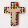 Croix avec oiseau peinte à la main pour baptême, communion, profession de foi, confirmation