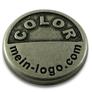 Logo-plättchen silber antique