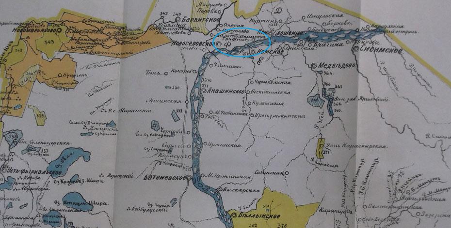 Деревня Трифонова Новоселовской волости на карте 1893 года
