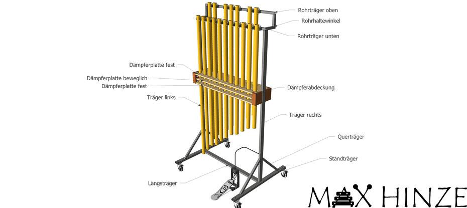 Röhrenglocken, selbst gebaut, Max Hinze, Stadtmusik Engen