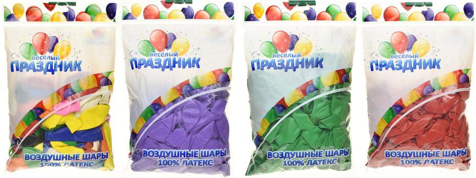 Воздушные шары из латекса торговой марки Весёлый праздник (Китай) купить в Казани в компании Волшебник