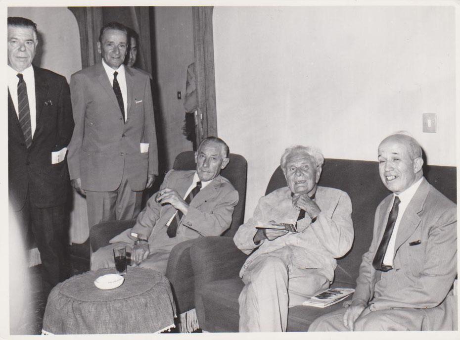 Serata con Vittorio Pozzo (4° da sx), Campione del Mondo 1934 e 1938