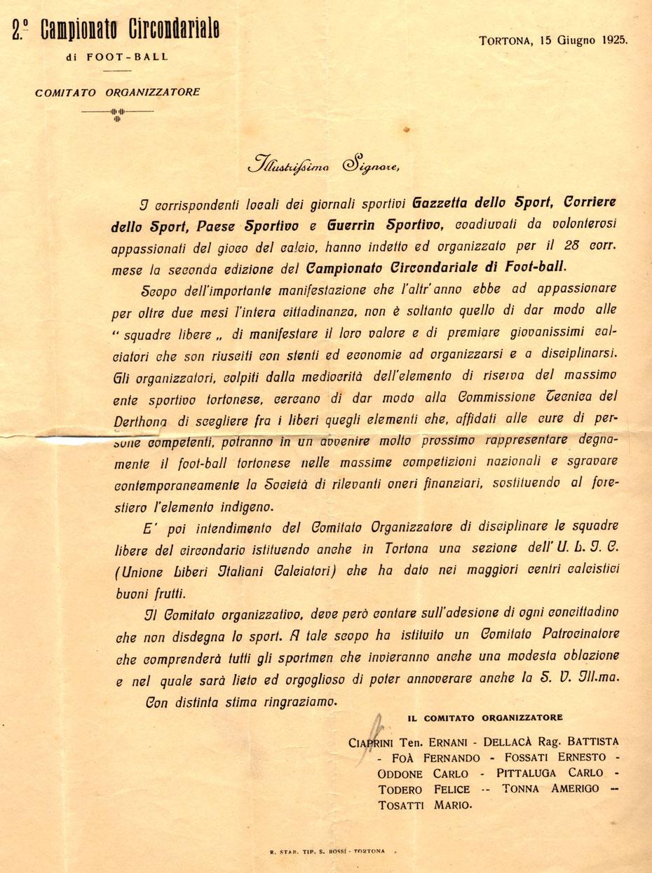 1925 Comitato Organizzatore