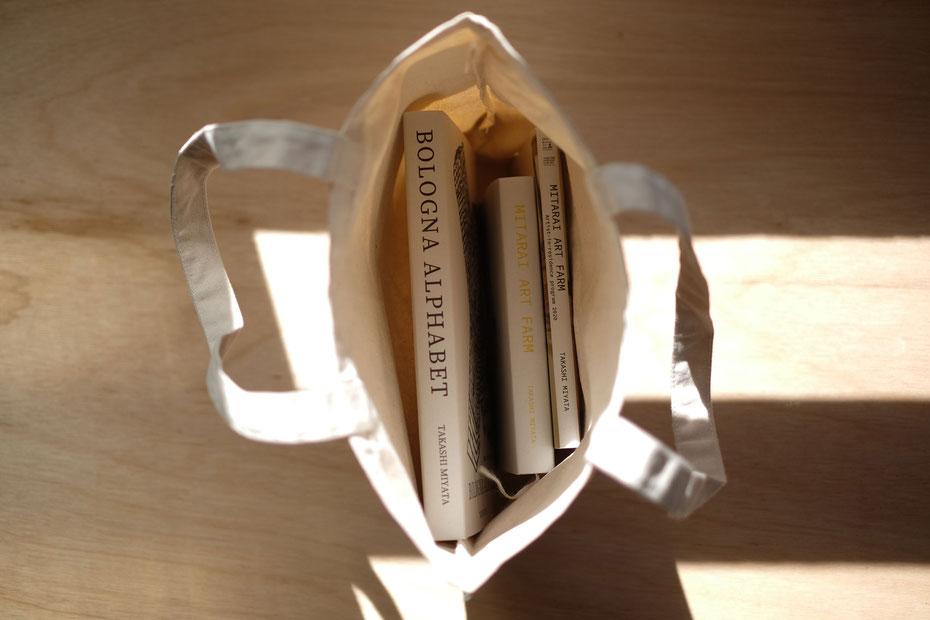 book store tote bag drawing by Japanese artist Takashi Miyata
