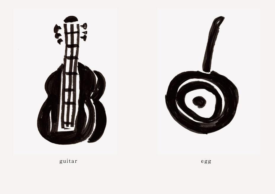 広島のイラストレーター、絵本作家であるミヤタタカシの黒のフェルトペンで描かれたモノクロームイラスト「guitar and egg」