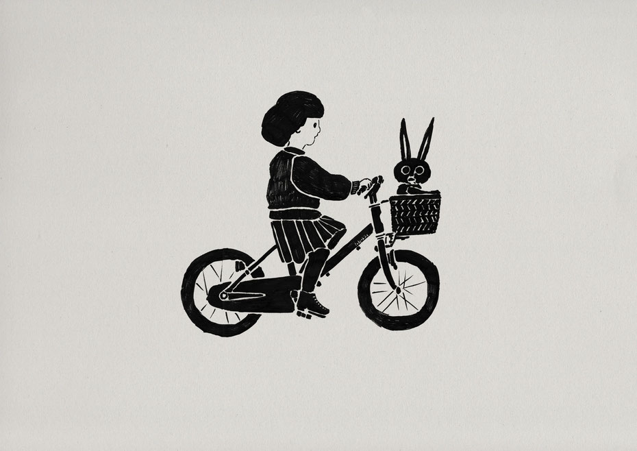 tokyo bike for kids / Felt tip pen Takashi Miyata Illustration  絵本作家、イラストレーター、ミヤタタカシのイラスト「うさぎと tokyo bike for kids」