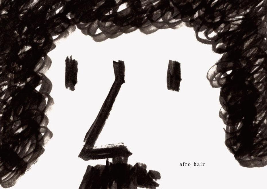 広島のイラストレーター、絵本作家であるミヤタタカシの黒のフェルトペンで描かれたモノクロームイラスト「aflo hair」