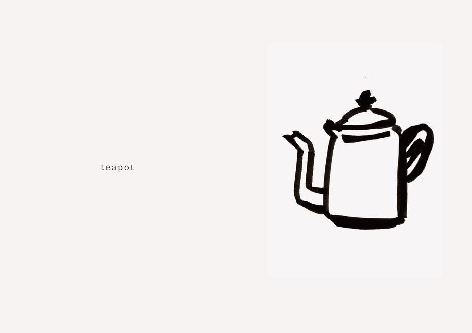 広島のイラストレーター、絵本作家であるミヤタタカシの黒のフェルトペンで描かれたモノクロームイラスト「teapot」