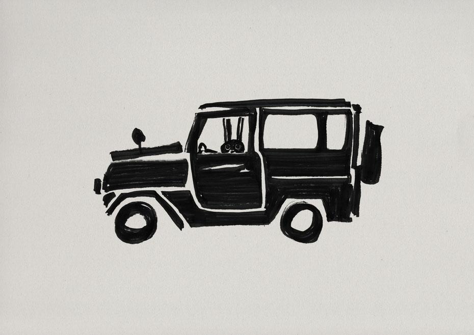 Land cruiser 40 / Felt tip pen Takashi Miyata Illustration