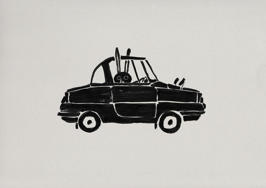 mazda R360 coupe / Felt tip pen Takashi Miyata Illustration  絵本作家、イラストレーター、ミヤタタカシのイラスト「うさぎと車」