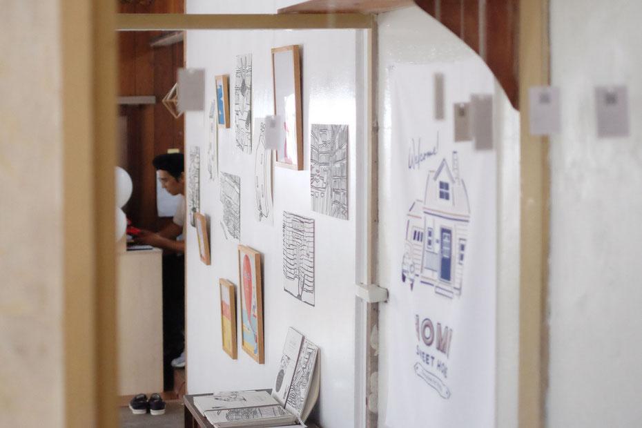 絵本作家でもありイラストレーターでもあるミヤタタカシ の大崎下島、御手洗藝術農園での展示風景