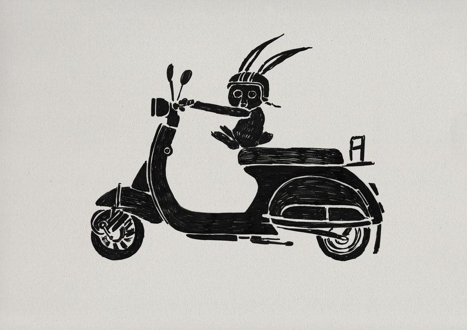 Electric scooter POCHETTE絵本作家、イラストレーター、ミヤタタカシのイラスト