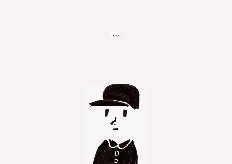 広島のイラストレーター、絵本作家であるミヤタタカシの黒のフェルトペンで描かれたモノクロームイラスト「boy」