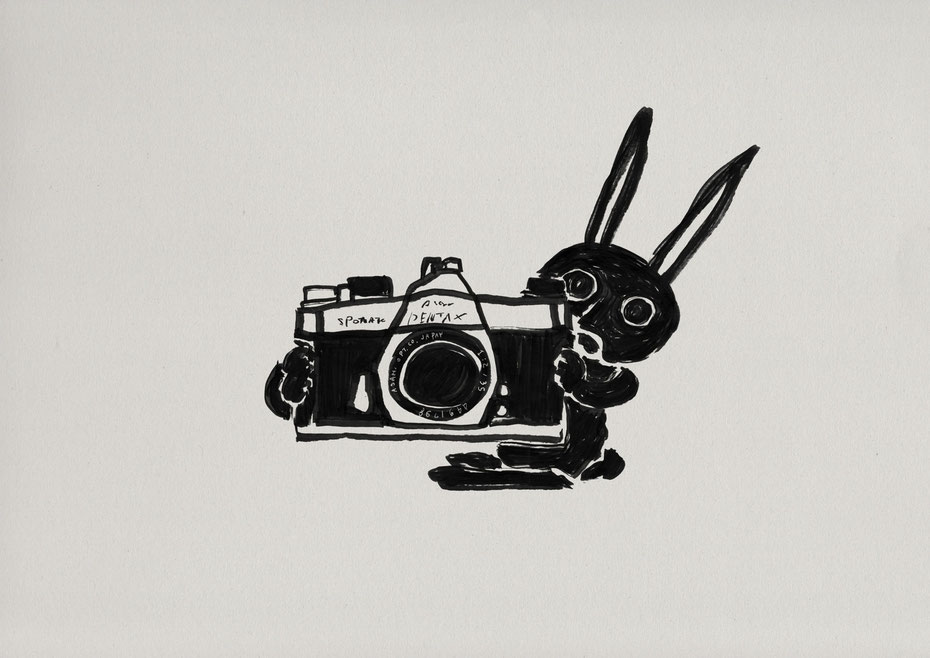 PENTAX film camera / Felt tip pen Takashi Miyata Illustration