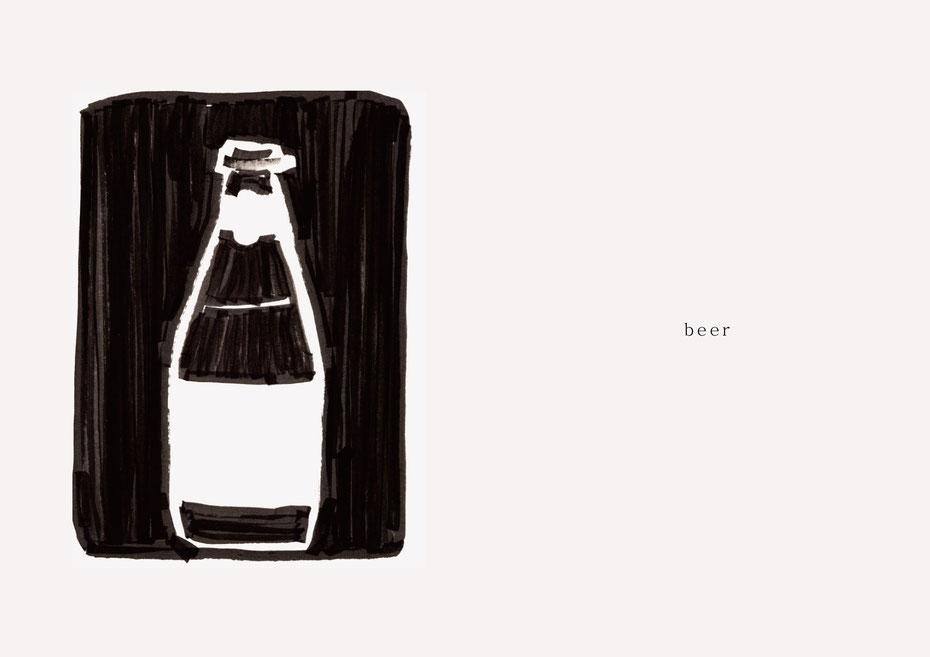 広島のイラストレーター、絵本作家であるミヤタタカシの黒のフェルトペンで描かれたモノクロームイラスト「beer」
