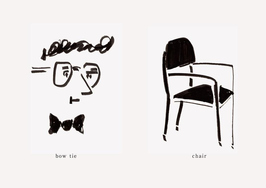 広島のイラストレーター、絵本作家であるミヤタタカシの黒のフェルトペンで描かれたモノクロームイラスト「bow tie and chair」