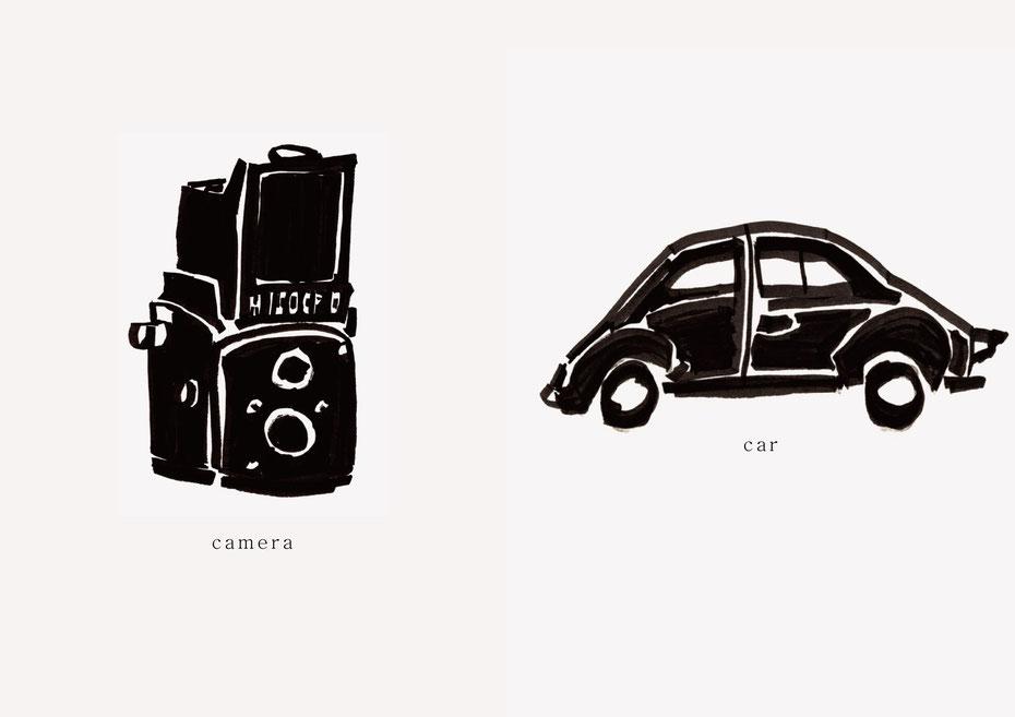 広島のイラストレーター、絵本作家であるミヤタタカシの黒のフェルトペンで描かれたモノクロームイラスト「camera and car」