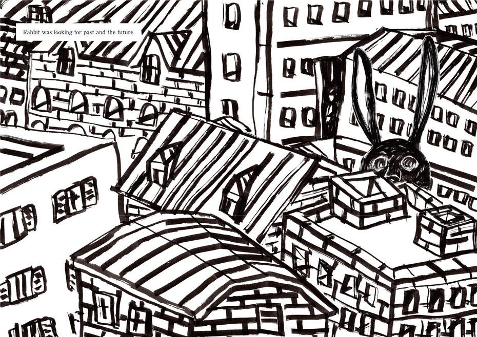 「迷子のうさぎ」より ミヤタタカシ、絵本、物語、イラスト