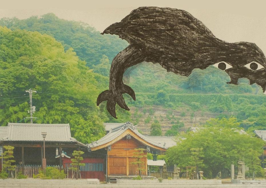 広島のイラストレーター、絵本作家ミヤタタカシ ドローイング、インスタレーション会場、御手洗骨董市