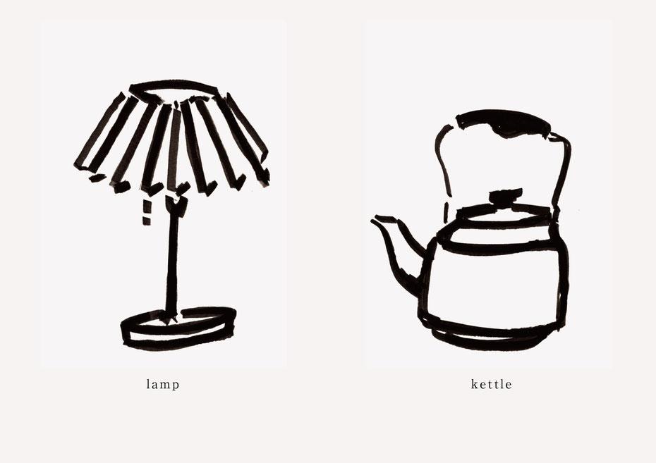 広島のイラストレーター、絵本作家であるミヤタタカシの黒のフェルトペンで描かれたモノクロームイラスト「lamp and kettle」