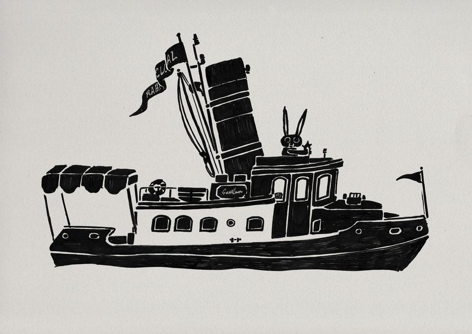 CONRAD motor yacht / Felt tip pen Takashi Miyata Illustration  絵本作家、イラストレーター、ミヤタタカシのイラスト「うさぎとヨット」
