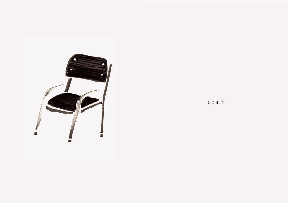 広島のイラストレーター、絵本作家であるミヤタタカシの黒のフェルトペンで描かれたモノクロームイラスト「chair」