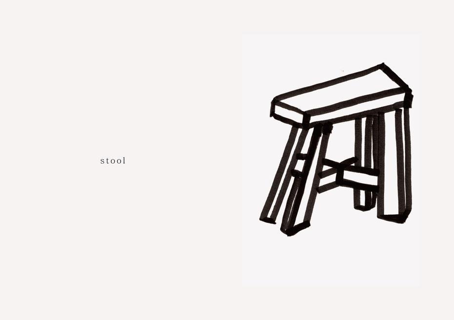 広島のイラストレーター、絵本作家であるミヤタタカシの黒のフェルトペンで描かれたモノクロームイラスト「stool」