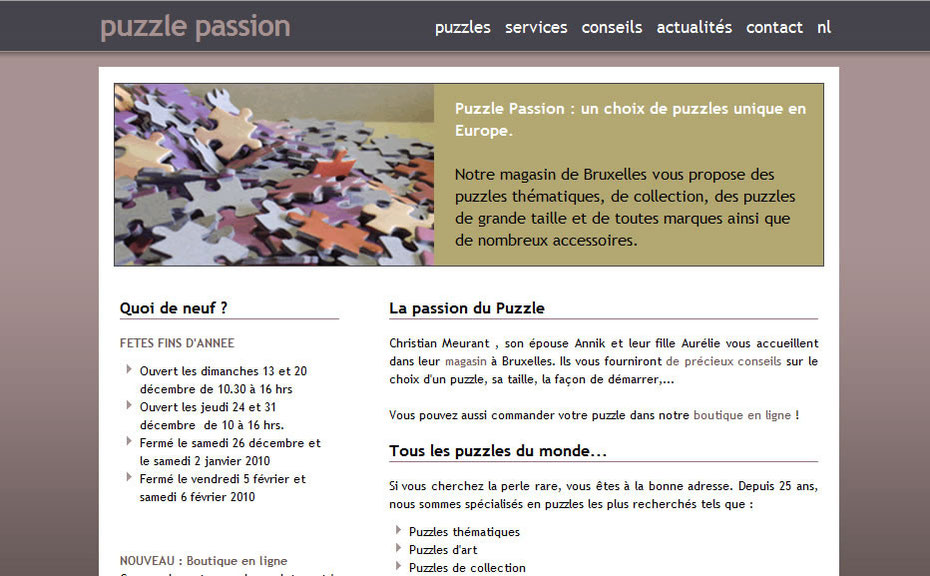 Le site de Puzzle Passion créé par Amaranthe en 2007
